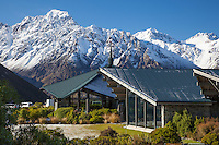 Winter view of The Hermitage Hotel, Aoraki Mt Cook Village NZ.  Mount Cook National Park New Zealand.