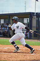 GCL Yankees West designated hitter Samuel De La Cruz (27) follows through on a swing during the second game of a doubleheader against the GCL Yankees East on July 19, 2017 at the Yankees Minor League Complex in Tampa, Florida.  GCL Yankees West defeated the GCL Yankees East 3-1.  (Mike Janes/Four Seam Images)
