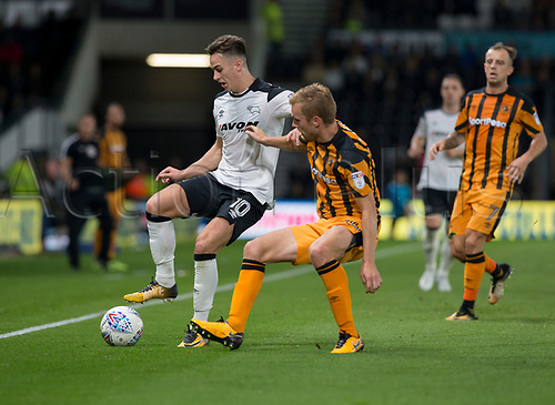8th September 2017, Pride Park Stadium, Derby, England; EFL Championship football, Derby County versus Hull City; Tom Lawrence of Derby County on the ball holding off Sebastian Larsson of Hull City