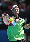 Lleyton Hewitt of Australia  in action against Fernando Gonzales of Spain during  Round , Day 2 of Australian Open tennis. 20-01-09