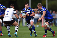 Michael van Vuuren of Bath United takes on the Bristol defence. Premiership Rugby Shield match, between Bristol Bears A and Bath United on August 31, 2018 at the Cribbs Causeway Ground in Bristol, England. Photo by: Patrick Khachfe / Onside Images