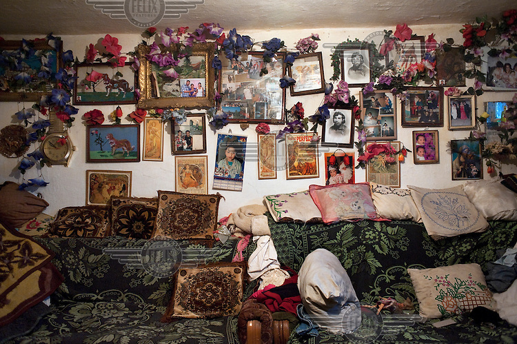 A wall in Milana Stojanovic's one room home. .