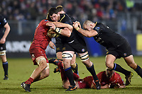 James Phillips of Bath Rugby takes on the Scarlets defence. European Rugby Champions Cup match, between Bath Rugby and the Scarlets on January 12, 2018 at the Recreation Ground in Bath, England. Photo by: Patrick Khachfe / Onside Images