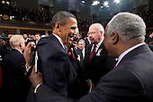 United States President Barack Obama greets U.S. Representative Danny K. Davis (Democrat of Illinois), right, U.S. Senator Patrick Leahy (Democrat of Vermont), center, and U.S. Representative Chaka Fattah (Democrat of Pennsylvania), following his State of the Union address in the U.S. House Chamber at the U.S. Capitol in Washington, D.C., Tuesday, January 25, 2011. .Mandatory Credit: Pete Souza - White House via CNP