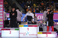 SCHAATSEN: HEERENVEEN: IJsstadion Thialf, 17-11-2012, Essent ISU World Cup, Season 2012-2013, Ladies 500 meter Division A, podium, Heather Richardson (USA), Sang-Hwa Lee (KOR), Jenny Wolf (GER), ©foto Martin de Jong