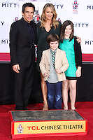 HOLLYWOOD, CA - DECEMBER 03: Ben Stiller, Christine Taylor, Quinlin Stiller, Ella Stiller attending the Ben Stiller Hand/Footprint Ceremony held at TCL Chinese Theatre on December 3, 2013 in Hollywood, California. (Photo by Xavier Collin/Celebrity Monitor)