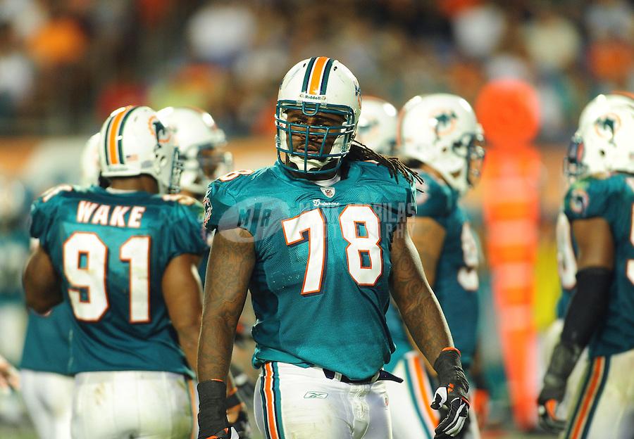 Nov. 18, 2010;  Miami, FL, USA; Miami Dolphins defensive tackle Tony McDaniel against the Chicago Bears at Sun Life Stadium. Mandatory Credit: Mark J. Rebilas-