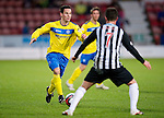 Dunfermline v St Johnstone..24.12.11   SPL .Kevin Moon is closed down by Joe Cardle.Picture by Graeme Hart..Copyright Perthshire Picture Agency.Tel: 01738 623350  Mobile: 07990 594431