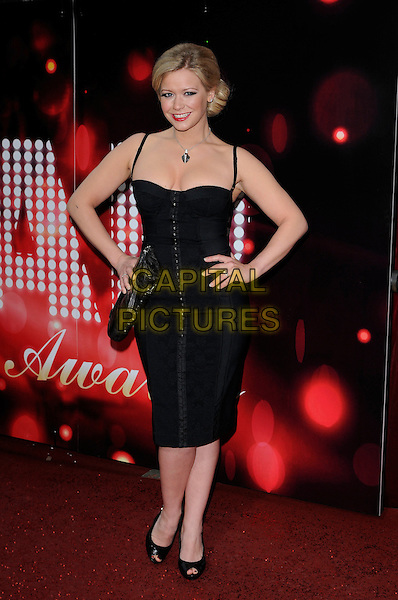 SUZANNE SHAW .The British Soap Awards 2010.The London Television Centre, London, England.8th May 2010.full length black dress hands on hips peep toe shoes corse bustier .CAP/CAN.©Can Nguyen/Capital Pictures.