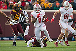 Wisconsin Badgers running back Chris James (5) carries the ball during an NCAA College Big Ten Conference football game against the Minnesota Golden Gophers Saturday, November 25, 2017, in Minneapolis, Minnesota. (Photo by David Stluka)