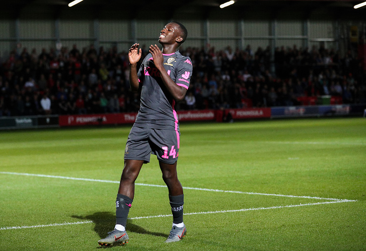 Leeds United's Eddie Nketiah rues a missed opportunity <br /> <br /> Photographer Alex Dodd/CameraSport<br /> <br /> The Carabao Cup First Round - Salford City v Leeds United - Tuesday 13th August 2019 - Moor Lane - Salford<br />  <br /> World Copyright © 2019 CameraSport. All rights reserved. 43 Linden Ave. Countesthorpe. Leicester. England. LE8 5PG - Tel: +44 (0) 116 277 4147 - admin@camerasport.com - www.camerasport.com