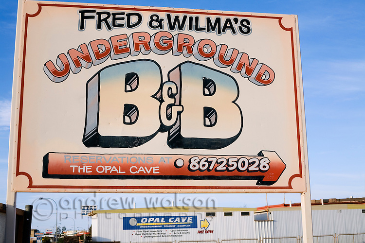 Sign for an underground Bed and Breakfast in Coober Pedy.  Many of the town's original opal mines have been coverted to underground accommodation.  Coober Pedy, South Australia, AUSTRALIA.