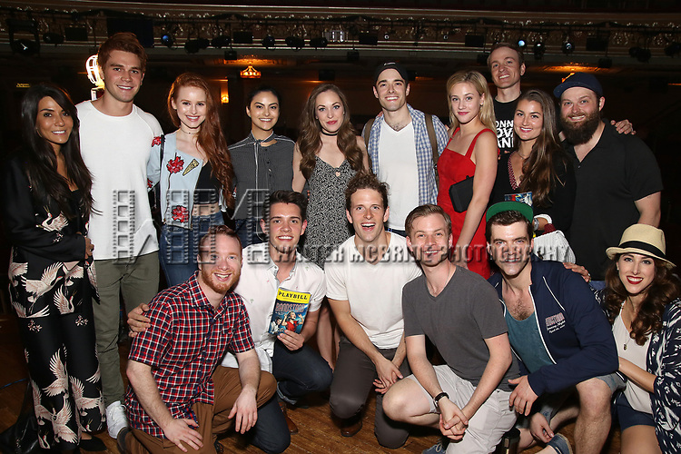 "Back Row: Marisol Nichols, KJ Apa, Madelaine Petsch, Camila Mendes, Laura Osnes, Corey Cott, Lili Reinhart, Geoff Packard, Brandon James Ellis. Front Row: Alex Bender, Casey Cott, Joe Carroll, James Nathan Hopkins, Jonathan Shew with cast backstage at  Broadway's ""Bandstand"" at the Bernard Jacobs Theate on May 19, 2017 in New York City."