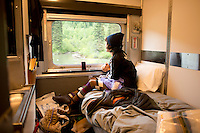 Annuska in our cabin in the Via Rail from Vancouver to Toronto, Canada