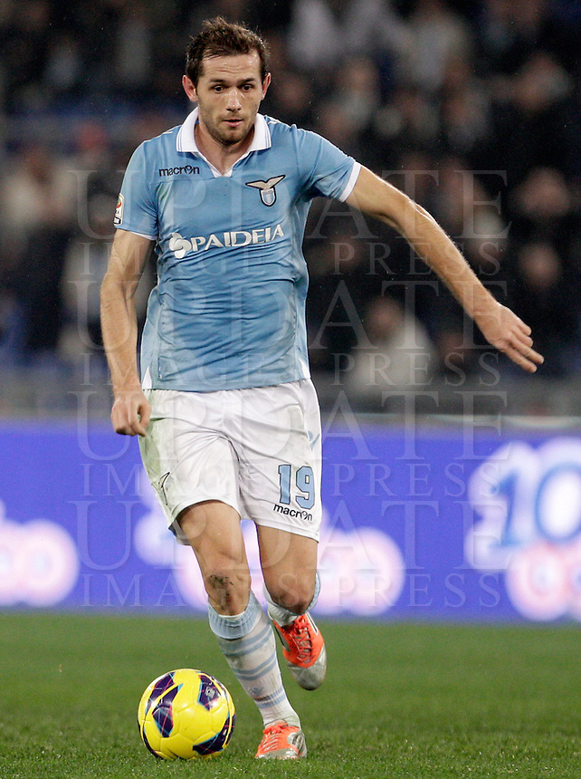Calcio, Serie A: Lazio vs Inter, Roma, stadio Olimpico, 15 dicembre 2012..Lazio midfielder Senad Lulic, of Bosnia, in action during the Italian Serie A football match between Lazio and FC Inter at Rome's Olympic stadium, 15 December 2012..UPDATE IMAGES PRESS/Riccardo De Luca