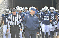 02 November 2013:  Penn State coach Bill O'Brien leads the team out the tunnel and onto the field before the game. The Penn State Nittany Lions defeated the Illinois Illini 24-17 in OT at Beaver Stadium in State College, PA.