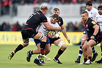 Victor Delmas of Bath Rugby looks to get past Schalk Burger of Saracens. Aviva Premiership match, between Saracens and Bath Rugby on April 15, 2018 at Allianz Park in London, England. Photo by: Patrick Khachfe / Onside Images