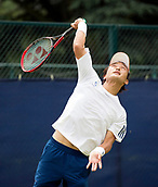 June 13th 2017, Nottingham, England; ATP Aegon Nottingham Open Tennis Tournament day 2;  Go Soeda of Japan serving in his match against Lloyd Glasspool of Great Britain