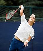June 13th 2017, Nottingham, England; ATP Aegon Nottingham Open Tennis Tournament day 2;  Go Soeda of Japan serving in his match against Lloyd Glasspool of Great Britain