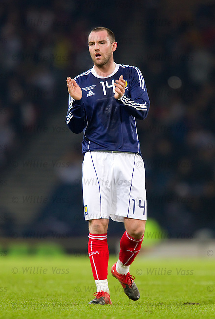 Kris Boyd gets a good reception from the Tartan Army at Hampden
