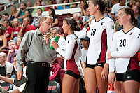 STANFORD, CA - September 2, 2010: Head Coach John Dunning and Hannah Benjamin (4) during a volleyball match against UC Irvine in Stanford, California. Stanford won 3-0.