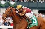 LEXINGTON, KY - April 14, 2018. #5 Rated R Superstar and jockey Javier Castellano win the 88th running of The Ben Ali Grade 3 $200,000 for owner Radar Racing (Paul Parker) and trainer Kenneth McPeek at Keeneland Race Course.  Lexington, Kentucky. (Photo by Candice Chavez/Eclipse Sportswire/Getty Images)