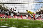 Theodor Gebre Selassie (Werder Bremen #23) fliegt ins Tornetz beim Tor zum 2:= durch  Jean-Paul Boëtius / Boetius (FSV Mainz 05 #05)<br /> <br /> <br /> Sport: nphgm001: Fussball: 1. Bundesliga: Saison 19/20: 33. Spieltag: 1. FSV Mainz 05 vs SV Werder Bremen 20.06.2020<br /> <br /> Foto: gumzmedia/nordphoto/POOL <br /> <br /> DFL regulations prohibit any use of photographs as image sequences and/or quasi-video.<br /> EDITORIAL USE ONLY<br /> National and international News-Agencies OUT.