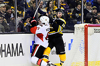 Tuesday, March 21, 2017: Boston Bruins right wing Drew Stafford (19) checks Ottawa Senators defenseman Chris Wideman (6) into the glass during the National Hockey League game between the Ottawa Senators and the Boston Bruins held at TD Garden, in Boston, Mass. Eric Canha/CSM