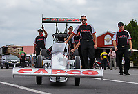 Sep 15, 2018; Mohnton, PA, USA; Crew members for NHRA top fuel driver Steve Torrence during qualifying for the Dodge Nationals at Maple Grove Raceway. Mandatory Credit: Mark J. Rebilas-USA TODAY Sports