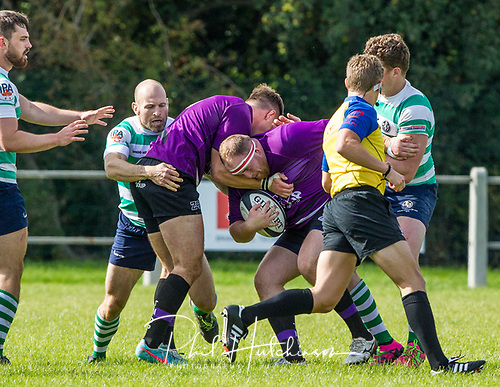 Leicester, England, 9th, September, 2017. <br /> <br /> Action in the National League 2 North rugby union match between Leicester Lions rfc and South Leicester rfc.  Charlie Robinson working hard in the loose for Leicester Lions<br /> <br /> <br /> <br /> <br /> &copy; Phil Hutchinson