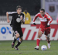 Chicago Fire midfielder Cuauhtemoc Blanco (10) runs with the ball while chased by DC United midfielder Chris Pontius (13)    Chicago Fire tied  DC United 1-1 at  RFK Stadium, Saturday March 28, 2009.