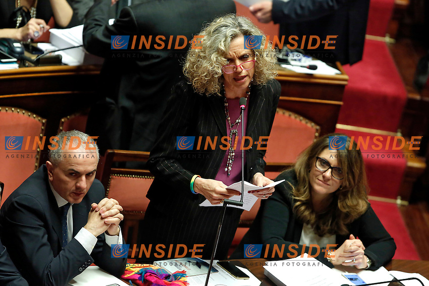 Monica Cirinna' <br /> Roma 02-02-2016 Senato. Voto delle pregiudiziali di costituzionalit&agrave;' sul DDL Unioni Civili.<br /> Senate. Debate about the Decree law on civil unions.<br /> Photo Samantha Zucchi Insidefoto