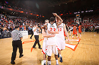 Cavaliers defeat Virginia Tech 75-61. Photo/Andrew Shurtleff..Sammy Zeglinski, Will Sherrill, Jeff Jones