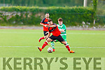 Tralee Dynamos Ivan Kolarvic under pressure from Killarney Celtic's Gary Keane in the Greyhound Bar KO Cup final on Sunday.