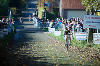 race leader (and eventual winner) Jolien Verschueren (BEL/Young Telenet-Fidea) coming up the Koppenberg cobbles<br /> <br /> Elite Women's race<br /> Koppenbergcross 2015