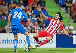 Getafe CF's Jose Maria Gimenez (l) and Atletico de Madrid's Sime Vrsaljko during friendly match. August 11,2017. (ALTERPHOTOS/Acero)