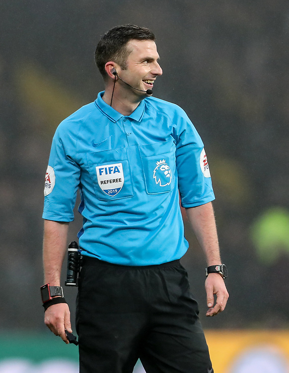 Referee Michael Oliver smiles<br /> <br /> Photographer Andrew Kearns/CameraSport<br /> <br /> The Premier League - Watford v Burnley - Saturday 19 January 2019 - Vicarage Road - Watford<br /> <br /> World Copyright © 2019 CameraSport. All rights reserved. 43 Linden Ave. Countesthorpe. Leicester. England. LE8 5PG - Tel: +44 (0) 116 277 4147 - admin@camerasport.com - www.camerasport.com