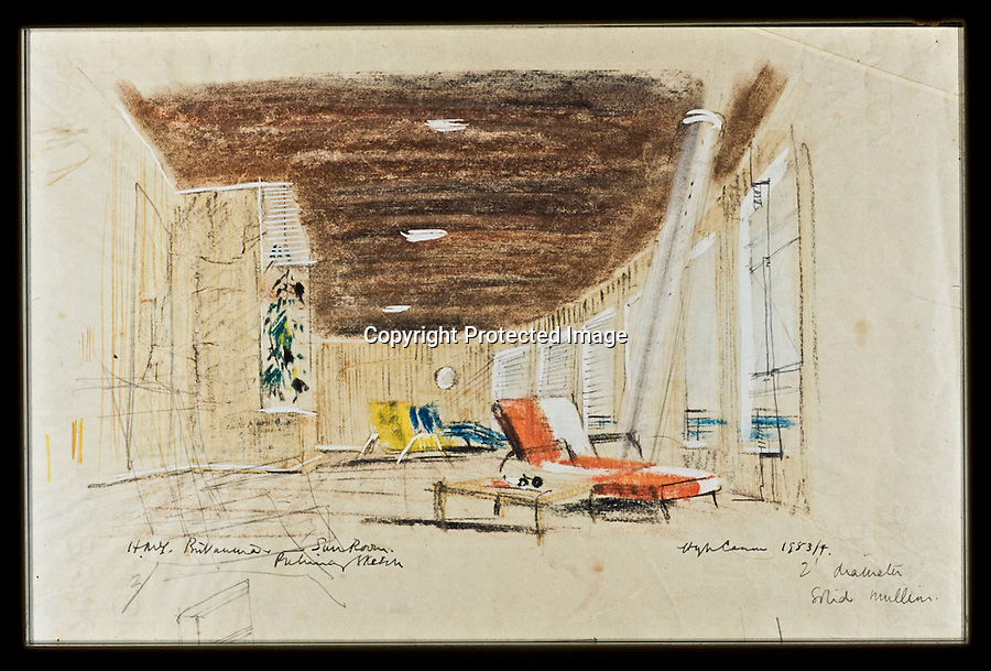 BNPS.co.uk (01202 558833)<br /> Pic: RYBritannia/BNPS<br /> <br /> Sun Room and bar.<br /> <br /> Sir Hugh Casson's original design sketches for the Royal Yacht have come to light - after his daughter Carola presented colour slides to the Trust in Leith, Edinburgh. <br /> <br /> The sketches of the yacht's state rooms, the vision of renowned architect Sir Hugh Casson, reveal the Queen's love of simple yet modern design.<br /> <br /> Britannia was launched in 1953, two months prior to the Queen's coronation, and clocked up more than one million miles up until 1997 when it was decomissioned.<br /> <br /> Sir Hugh was commissioned to put forward ideas after the Queen and the Duke of Edinburgh shunned original designs put forward by the yacht's builders.<br /> <br /> Far from the majesty of their Victorian palaces, the Royal couple wanted the yacht to be a contemporary 'home from home'.<br /> <br /> Britannia Trust head Bob Downey said 'It is a testament to Sir Hugh's skills that the Queen never updated his stylish original designs.'