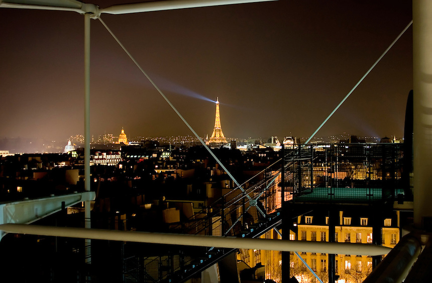 View of the Eiffel Tower from the Pompidou Center.