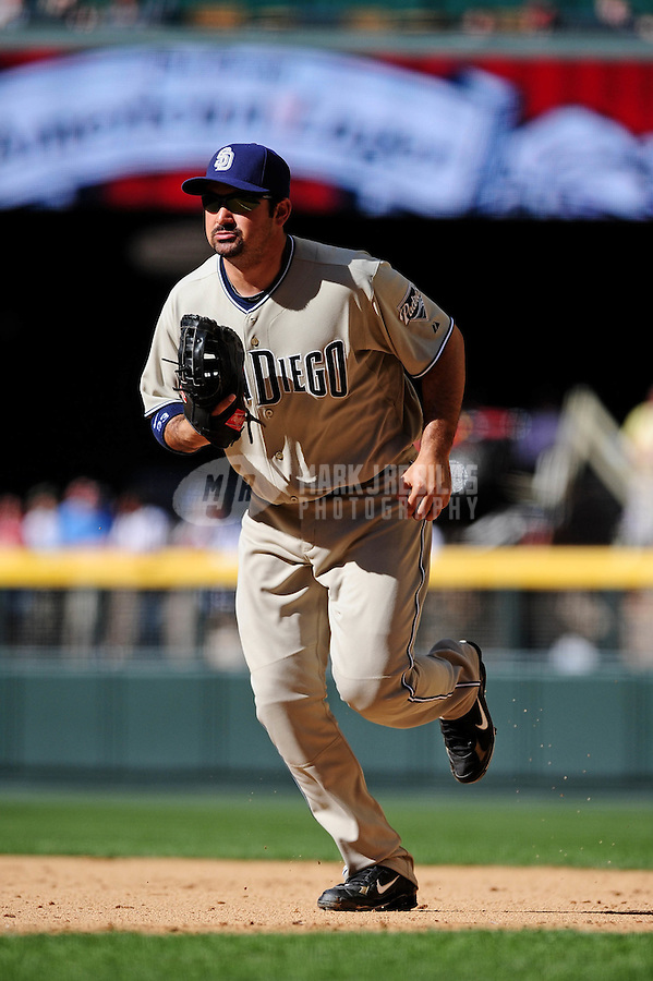 Apr. 5, 2010; Phoenix, AZ, USA; San Diego Padres first baseman Adrian Gonzalez against the Arizona Diamondbacks during opening day at Chase Field. Mandatory Credit: Mark J. Rebilas-