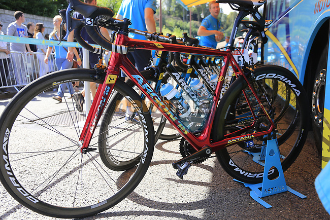 Fabio Aru's (ITA) Astana team Argon 18 bike lined up outside the team bus at sign on in Verviers before the start of Stage 3 of the 104th edition of the Tour de France 2017, running 212.5km from Verviers, Belgium to Longwy, France. 3rd July 2017.<br /> Picture: Eoin Clarke | Cyclefile<br /> <br /> <br /> All photos usage must carry mandatory copyright credit (&copy; Cyclefile | Eoin Clarke)