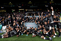 16th November 2019; Twickenham, London, England; International Rugby, Barbarians versus Fiji; Fiji players lifting the Killik Cup after defeating Barbarians 33-31 - Editorial Use