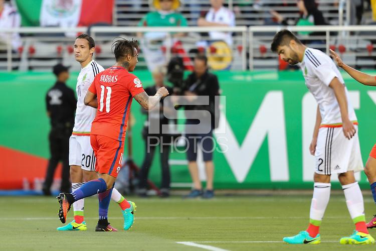 Santa Clara, CA - Saturday June 18, 2016: Eduardo Vargas celebrates scoring during a Copa America Centenario quarterfinal match between Mexico (MEX) and Chile (CHI) at Levi's Stadium.