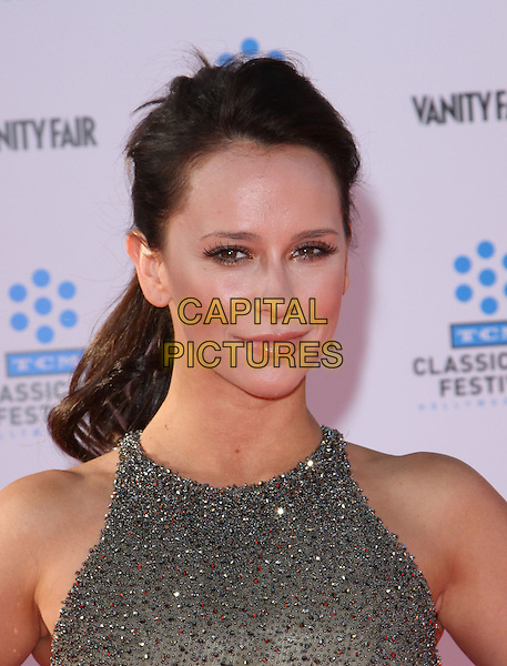 JENNIFER LOVE HEWITT.2011 TCM Classic Film Festival Opening Night Held At The Grauman Chineses Theatre, Hollywood, California, USA..April 28th, 2011.headshot portrait grey gray red beaded beads  beige sleeveless.CAP/ADM/KB.©Kevan Brooks/AdMedia/Capital Pictures.