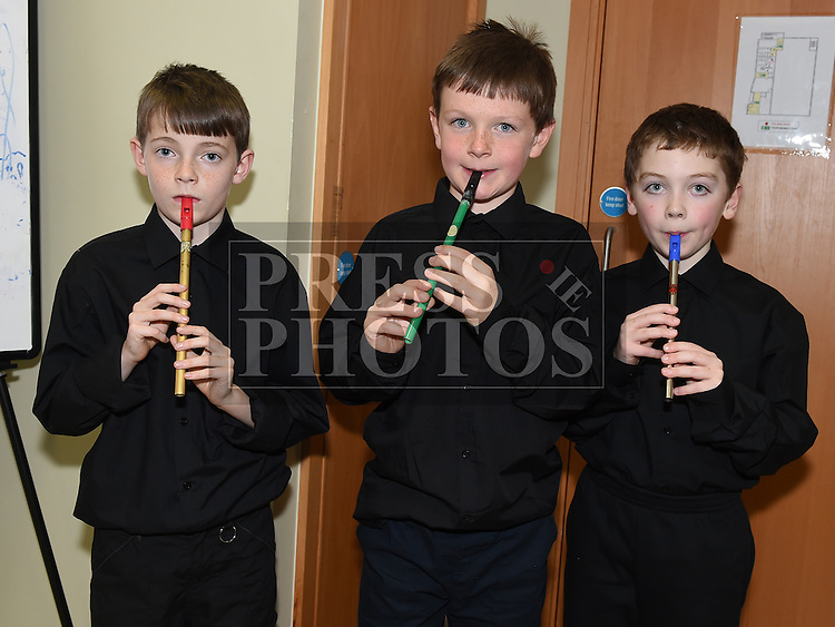 Daragh McCabe, Conor McGinty and Callum O'Reilly pictured at the Trad Na Samhna music show in the Barbican Centre. Photo:Colin Bell/pressphotos.ie