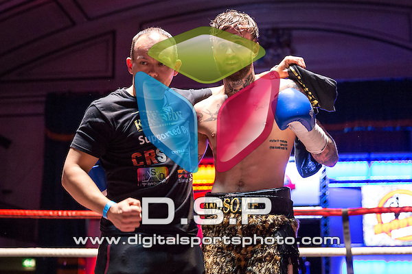 Josh Kennedy VS Ignac Kassai - Featherweight Contest. Photo by: Stephen Smith.<br /> <br /> Goodwin Boxing: Paddy's Day Punch Up - Saturday 19th March 2016. York Hall, Bethnal Green, London, United Kingdom.