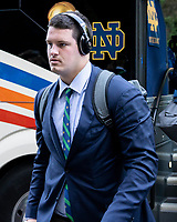 ATHENS, GA - SEPTEMBER 21: Josh Lugg #75 of the Notre Dame Fighting Irish arrives prior to the game during a game between Notre Dame Fighting Irish and University of Georgia Bulldogs at Sanford Stadium on September 21, 2019 in Athens, Georgia.