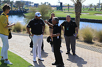 Shane Lowry (IRL) meets Gary Player during Round 4 of the Saudi International at the Royal Greens Golf and Country Club, King Abdullah Economic City, Saudi Arabia. 02/02/2020<br /> Picture: Golffile | Thos Caffrey<br /> <br /> <br /> All photo usage must carry mandatory copyright credit (© Golffile | Thos Caffrey)