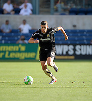 FC Gold Pride midfielder Christine Sinclair (12) dribbles down the field.  The FC Gold Pride defeated the Chicago Red Stars 3-2 at Toyota Park in Bridgeview, IL on August 22, 2010