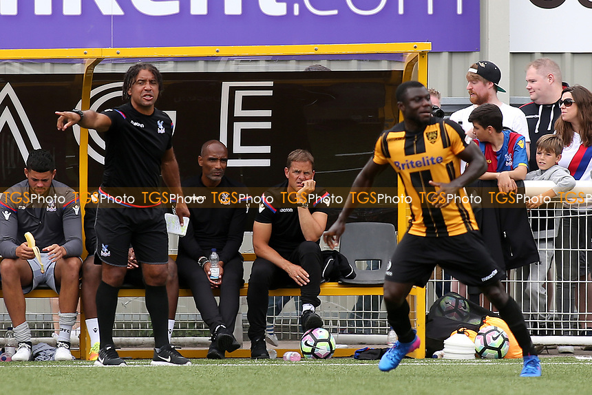 Crystal Palace U23 Coach, Richard Shaw issues some instructions to his team as Crystal Palace Manager, Frank De Boer looks on alongside his Assistant, Orlando Trustfull  during Maidstone United vs Crystal Palace, Friendly Match Football at the Gallagher Stadium on 15th July 2017